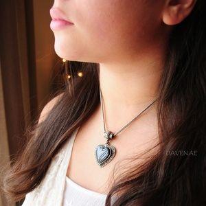 Black Onyx Heart Diamond Necklace